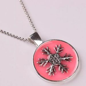 Pink Snowflake Pendant Necklace. ❄️